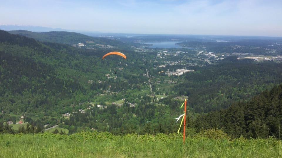 Paragliders Launching From Poo Poo Point